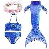 Paisdola Cola de Sirena para Niñas para Nadar Bikini de 3 Piezas y Diadema con Guirnaldas de Flores (110, DH05H-PINK)