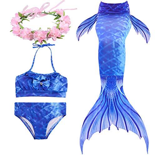 Paisdola Cola de Sirena para Niñas para Nadar Bikini de 3 Piezas y Diadema con Guirnaldas de Flores (130, DH05H-PINK)