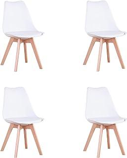 GrandCA HOME Chaise de Salle à Manger Lot de 4, Chaise avec Pieds en hêtre de Style Nordique, Adaptée au Salon Salle à Man...