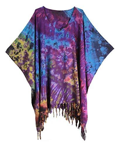 Tie Dye Blouse Caftan Kaftan Poncho Tops Cover Up Spiral Plus Size Real Handmade (Purple)