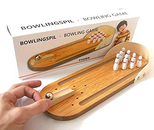CrazyCrafts Wood Mini-entertainment desktop bowling game set, Multicolour, 10 wooden bowling pins ,1 metal bowling ball ,1 wooden bowling ramp with peg ,1 wooden alley