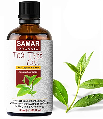 Tea Tree Oil - Premium Quality 100% Pure and Certified Organic Australian Tea Tree Oil Natural, Vegan & undiluted, Use in Antiseptic, Aromatherapy, Massage Blend and Skin Care Treatment – 30ml