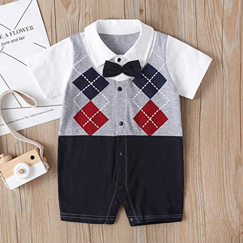 Neugeborenes Baby Strampler Gentleman Anzug Plaid Jumpsuit Kleidung Outfits Body Kurzarmspielanzug, Baumwolle Overalls, Bekleidungssets Kinder Taufe Festlich Hochzeit Outfit