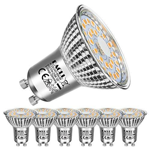 EACLL Bombillas LED GU10 6W 2700K Fuente de Luz Regulable Blanco Cálido 570 Lúmenes Lámparas Reflectoras. Atenuación de 3 Niveles Solo Con un Interruptor Normal. Sin Parpadeo Spotlight, 6 Pack