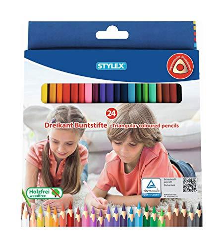 Stylex 26004 - Buntstifte für Kinder in ergonomischer Dreiecksform, 24 Stück in verschiedenen Farben, holzfrei lackiert, im Kartonetui