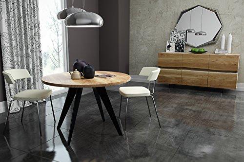 KARAKTER-MÖBEL runder Tisch rund Esstisch Akazie massiv Massivholztisch Modern Kolonial Ø90 cm