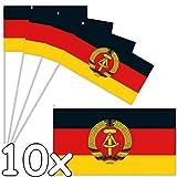 DH-Konzept 10 Papierflaggen * DDR * als Deko für Länder-Party und Geburtstag | Fahnen Deutsch Demokratische Republik Mottoparty Fähnchen Dekoration Hammer...