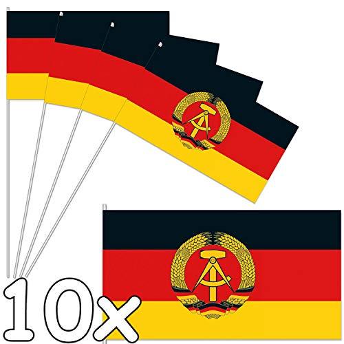 DH-Konzept 10 Papierflaggen * DDR * als Deko für Länder-Party und Geburtstag   Fahnen Deutsch Demokratische Republik Mottoparty Fähnchen Dekoration Hammer Sichel
