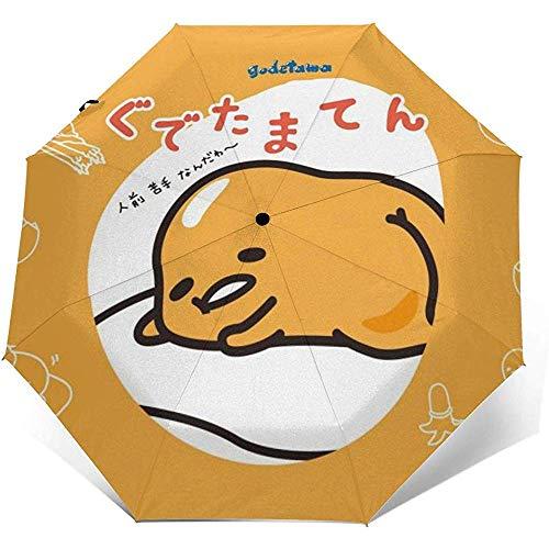 Automatischer dreifachgefalteter Regenschirm Gudetama Personalisierter wasserdichter Sonnenschutzschirm Robust Winddicht UV-Regenschirme ATU-034