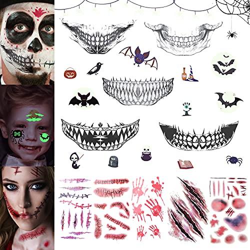 Tatuaggi Temporanei, WISHDREAM Tatuaggi di Halloween, Tatuaggi Flash, Tatuaggi per Bambini Perfetti per le Feste e le Decorazioni, Tatuaggi Temporanei Donna/Uomo