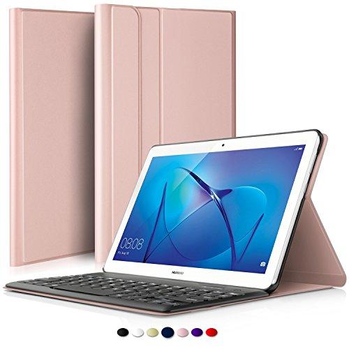 ELTD Huawei MediaPad T3 10 Tastatur, Detachable Kabellose Tastatur (QWERTZ Tastatur) mit Standfunction Für Huawei MediaPad T3 10, Rosegold