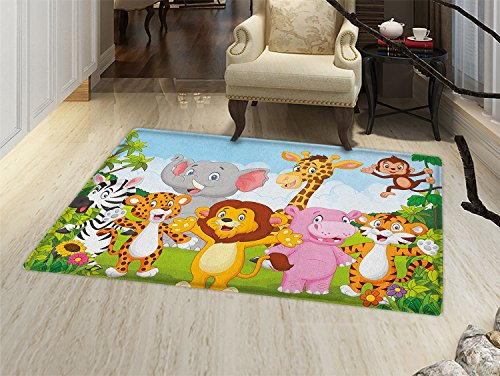 Nursery Door Mat Small Rug Comic African Savannah Animals Playful Friendly Safari Jungle Happy Wildlife Nature Bath Mat 3D Digital Printing Mat Multicolor