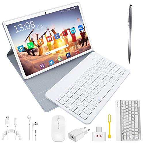 Tablet 10 Pulgadas 4G/wifi Android 9.0 Pie Ultrar-Rápido Tablets 4GB RAM + 64GB ROM/256GB Escalable | Laptop convertible de oficina | Dual SIM - 8000mA Bluetooth GPS Type-C Tablet (5+8.0MP Cámara) Oro