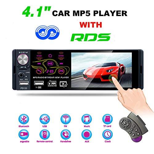 Honboom Autoradio Bluetooth con Pantalla táctil 1080P de 4.1 Pulgadas, Radio de Coche FM/Am/RDS Reproductor MP5/MP3 Compatible USB/TF/AUX Reproducción, Control del Volante y Control Remoto