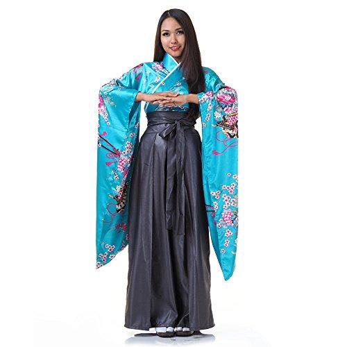 Princess of Asia Japan Damen Geisha Samurai Kimono Outfit Kostüm S M 36 38 40 (Türkis & Grau)