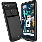 NEWDERY Google Pixel 2 XL Battery Case 5200mAh, Portable Extended Charger Case, Built-in TPU and PC Charging Power Case Compatible Google Pixel 2 XL - Type-C Port (Black 6 Inches)