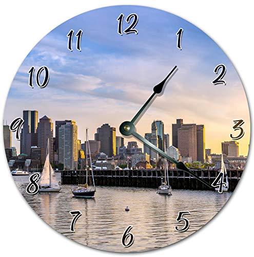 Reloj de pared redondo de 30,5 cm, funciona con pilas, con números árabes, barco con reloj de vela Windsurf, decoración del hogar