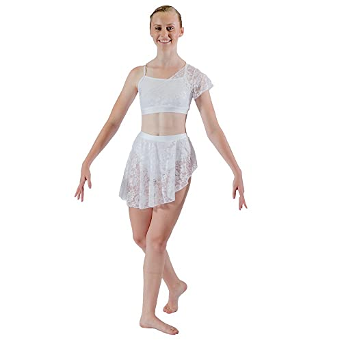 38f962e184fb5 HDW DANCE Women Lyrical 2 Pieces Dance Sets NylonLycra Crop Top and Shorts  Lace Overlay