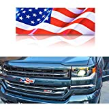 2X American Flag Decal for Chevy Silverado 1500 Truck Grille and Tailgate Bowtie Emblem Decal