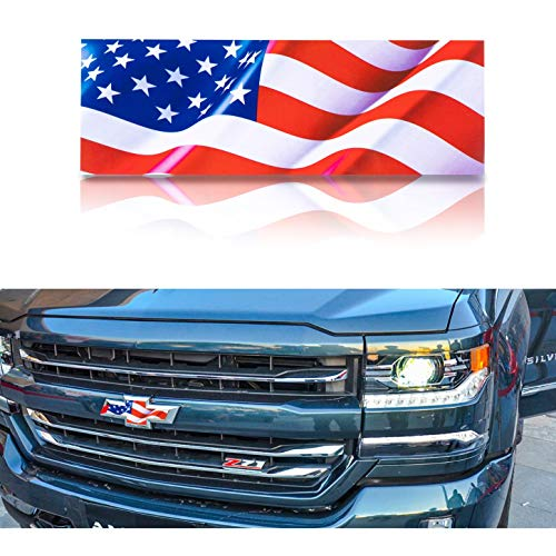 ROZEE 2X American Flag Decal for Chevy Silverado 1500 Truck Grille and Tailgate Bowtie Emblem Decal