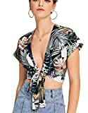 Floerns Women's Summer Printed V Neck Bow Tie Crop Top Blouse Green Floral M