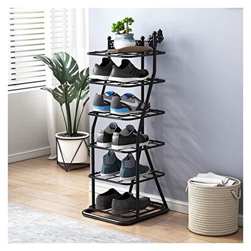 xuejuanshop Zapatero Saving Sport Shoe Shelf Zapato de Metal Estante Estable y Duradero Staquilla Independiente Rack de Zapatos de 6 Pisos Racks de Zapatos (Blanco/Negro) Zapatera (Color : Black)