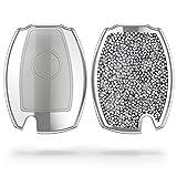 kwmobile Funda para Mando Compatible con Mercedes Benz Llave de Coche de 3 Botones - Carcasa Llave Coche con Diamantes de imitación - Plata