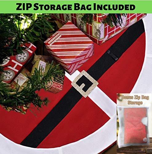 Premium Fleece Christmas Tree Skirt (48 Inch) + Bonus Zip Storage Bag - No Scratch! - Santa Belt Suit Design w/Real Belt Loop - Great Xmas Gift - Large Skirts Fits All Trees (Santa Suit Red, Fleece)