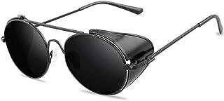 none_branded - None - Gafas de sol estilo steampunk estilo retro para hombre y mujer, montura de metal redonda, lentes punk