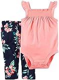 Carters bebé niñas 2Piezas Rosa Smocked Body & Azul Floral Leggings Outfit