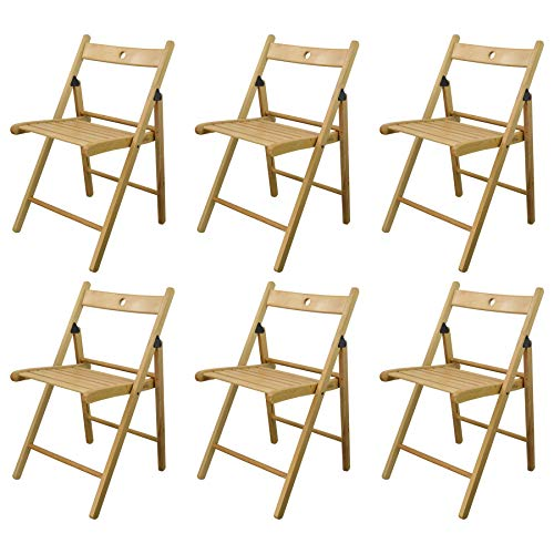 Harbour Housewares Silla plegable de madera - madera de color natural -...
