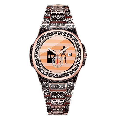 Herrenkollektion Rose Gold Heavy Duty Skull Watch 111. Halloween, Skelett, Grabstein - Black Orange Armbanduhr