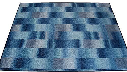 Karo Patchwork Teppich blau grau Velours umkettelt - Verschiedene Größen (250 x 350 cm)
