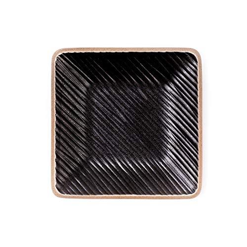 THE CHEF COLLECTION – Piatto Quadrato 15, Collezione Zen, piatto nero, piatto ceramica nera di stile giapponese, 15,0x15,0x1,5 cm