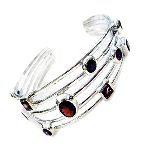 Gemsonclick Natürliche Granat Sterling Silber Armbänder Für Frauen & Mädchen Handgemachte Armreif Stil L 6,5-8 Zoll