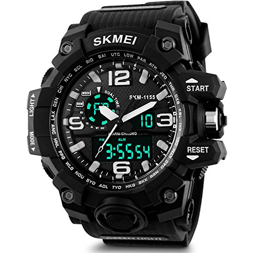 Men's Analog Sports Watch, Aposon Military Wrist Watch Large Dual Dial Digital Outdoor Watches Electronic Malfunction Two Timezone Back Light Water Resistant Calendar Day Date - Black