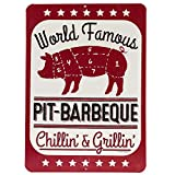 Open Road Brands Pit BBQ Embossed Metal Sign