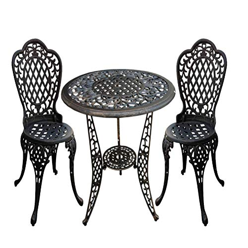 Christopher Knight Home Cole Outdoor Cast Aluminum Bistro Set, 3-Pcs Set, Bronze