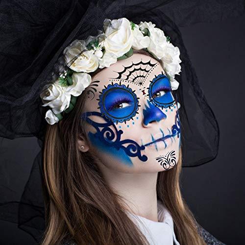 ZERHOK Halloween Tatuaggi di Faccia,8 PCS Halloween Tatuaggi Temporanei Moda Decorazione Festa a Tema Halloween Festa in Festa di Trucco