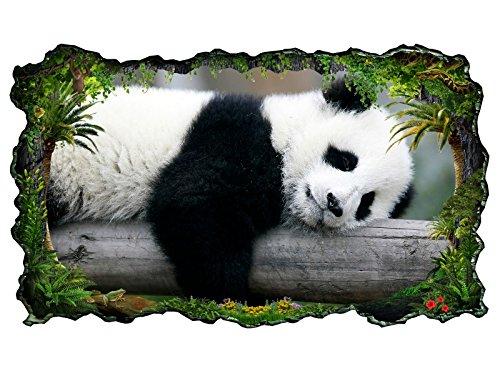 3D Wandtattoo Panda Pandabär Bär süß Tier Baby Bild selbstklebend Wandbild sticker Wohnzimmer Wand Aufkleber 11H372, Wandbild Größe F:ca. 97cmx57cm