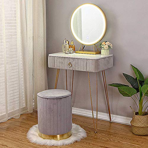 Small Dressing Table for Bedrooms Vanity Table Set LED Lights Mirror Cosmetic Drawers Organiser Metal Makeup Cushioned Stool Gifts for Women