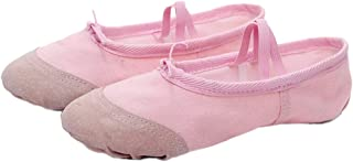 Healifty 1 Pair Ballet Shoes Slippers Ballerina Flats Canvas Ballroom Dance Shoes Soft Yoga Shoes Slippers For Toddler Gir...