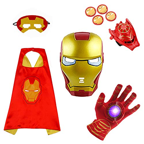 Cartoon Superhero Costume 5 Packs-Luminous Voice Toy Glove+Toy Transmitter+ Mask + Satin Cape + Glow mask for Kids Halloween Toy Party Gift