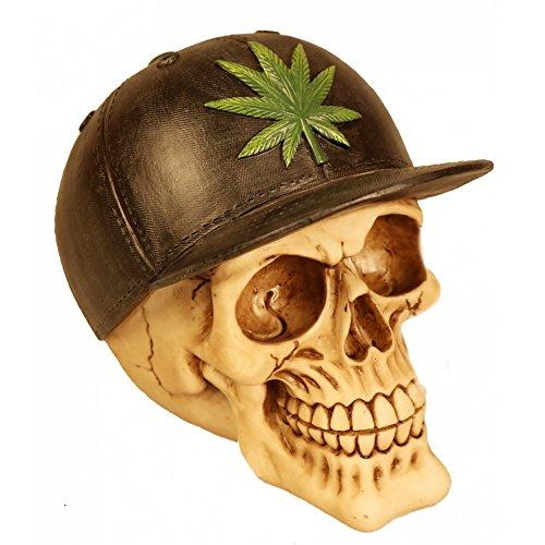 A.G.S. Deko Totenschädel Totenkopf Skull Cannabis Ganja Marihuana Kiffen Gothic Halloween Dekoration 666 Tattoostudio