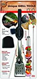 Jokari Pro Grade 6 in 1 Lighted Grill Set. All In One Industrial Strength Tool Includes Easy Grip Handle, Spatula, Adjustable Tongs, Knife Blade, Scraper, LED Flashlight, BBQ Skewers and Bottle Opener