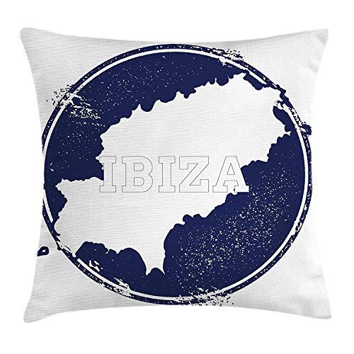 Ibiza Kussen Kussensloop, Grunge Stijl Eiland Naam en Kaart Zuid-Spanje Vakantie Bestemming Exotisch, Decoratieve Vierkante Accent Kussensloop, 18 X 18 inch, Donker Blauw en Wit