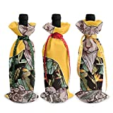 A Cat in A Vintage Hawaiian Shirt 3Pcs Christmas Wine Bottle Cover Bag Set Holiday Red Wine Champagne 13 X 4.5 Inches, Bar Kitchen Christmas Family Party Decoration Table Decor Xmas Gift