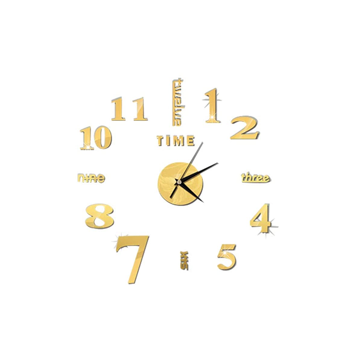 単に最小ノーブルRosepoem 取り外し可能なミラーの柱時計、Diyの壁掛け時計アクリル3Dミラーステッカーアート時計デカール壁画 - ゴールド