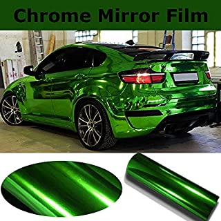 """DIYAH High Gloss Green Chrome Mirror Vinyl Car Wrap Sticker with Air Release Bubble Free Anti-Wrinkle (72"""" x 60"""" / 6FT x 5FT)"""