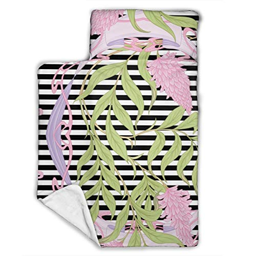 Cavdwa Warme superweiche Anti-Pilling Flanell Baby Schlafmatte mit Schlafmatte, Decke, Kissen, 109,9 x 53,3 cm, blühende rosa Akazie im Jugendstil